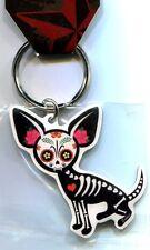 CHIHUAHUA DOG sugar skull/dia de los muertos METAL KEYCHAIN key chain ring ch383