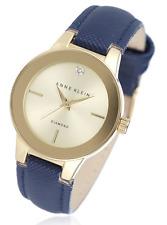 Anne Klein Womens Chloe Diamond Dial Leather Strap Watch - Navy