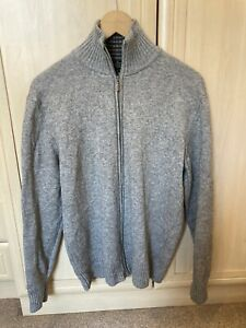 Puro by Authentic 100% Cashmere Made in Italy Grey Jumper Zip Cardigan Large