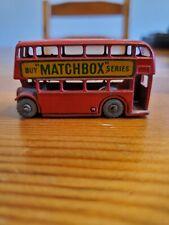 Vtg 1950s Lesney London Double Decker Bus No 5 'Buy MATCHBOX SERIES' Red w Gray