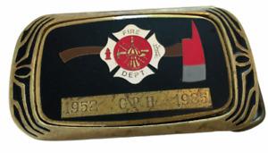 Vintage 1983 Brass Belt Buckle Firefighter Fire Department ENAMEL NAP INC GPH