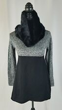 Style & co women PP scarf tunic sweater faux fur scarf gray black
