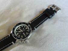 Black Leather Watch Strap fits Seiko Diver Watches SRPD SNZF SKX 22 mm Q/R Pins