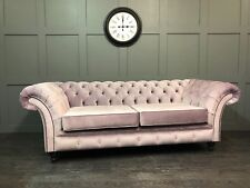 London 3 Seater Chesterfield Sofa Heather, Pale Pink