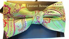 MENS BOW TIE GREEN PAISLEY BOWTIE  PRE-TIED BOW WITH CLIP