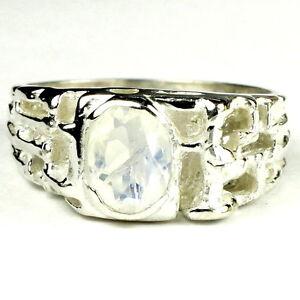 RAINBOW MOONSTONE Sterling Silver Men's Ring, Handmade • SR197