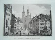 Würzburg Domstraße Dom   Bayern   echter alter Stahlstich 1840