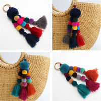 Tassel Pom Pom Charm Pendant Hair Ball Key Chain Multi-color Keyring Wooden Bead
