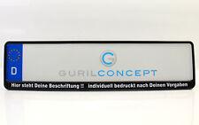 2x Kennzeichenhalter bedruckt mit eigener Wunschbeschriftung, Text oder Logo