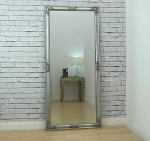 Large Vintage Full Length Silver Ornate Leaner Wall Hanging Mirror 160cm x 74cm