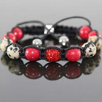 Damen Dalmatiner Lapis Halbedelstein Shamballa Armband verstellbar,für Frauen