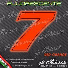 Adesivo Stickers NUMERO 7 moto auto cross gara Rosso FLUORESCENTE 10 cm