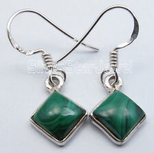 """925 Solid Silver Green MALACHITE Square LADIES' JEWELRY Earrings 1.1"""" India"""