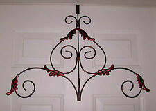 CUSTOM  ANTIQUED SCROLL OVER THE DOOR WREATH HANGER Primitive Country Home Decor