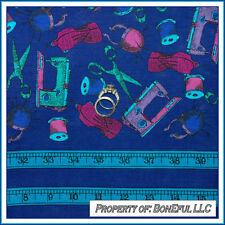 BonEful Fabric BTHY Cotton Quilt VTG Blue Sewing Machine Scissor Thread L Border