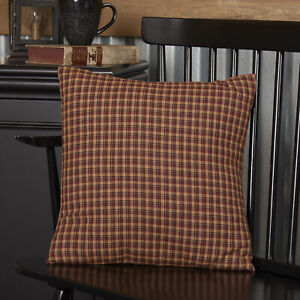 """VHC Brands Primitive 16""""x16"""" Pillow Red Patriotic Patch Cotton Bedroom Decor"""