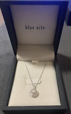 BNIB BLUE NILE FRESHWATER CULTURED PEARL AND WHITE TOPAZ HALO NECKLACE RRP£72