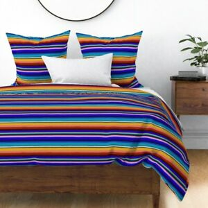 Serape Mexican Stripes Blue Black Red Orange Pink Sateen Duvet Cover by Roostery