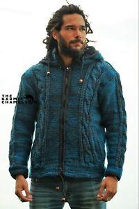 Warm Hippie Jacket Teal Grey Double Knitted Fleece Lined Coat Aran Hood