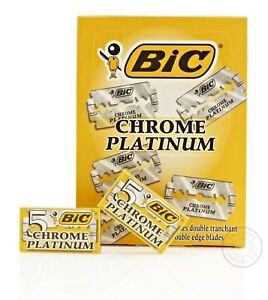 BIC Chrome Platinum Double Edge (DE) Razorblade - 100 Blades (20 packs of 5)