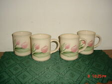 "4-PC PFALTZGRAFF ""GARDEN PARTY"" 10oz COFFEE MUGS/FLOWERS/CRM-GRN-PINK/FREE SHIP!"