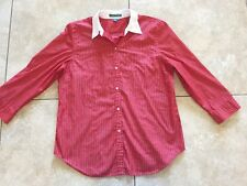 Lauren Ralph Lauren Women's 3/4 Sleeve Striped Cotton Button Front Shirt Size L