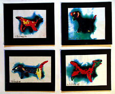 4 ORIGINAL DOGGIE PRINTS Arthur Robins NYC Art ANIMALS,dogs,cats,birds,colorful