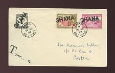 GOLD COAST GHANA HANDSTAMPS 1957 + POSTAGE DUE LABADI to PRESTEA