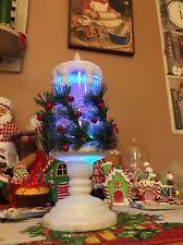 """Flameless Led Christmas Spinning Pillar Candle Water globe Winter Scene 11"""" Berr"""