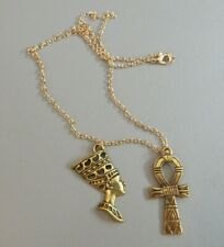 Nefertiti + Ankh Egyptian Goddess Head Pendant Necklace gold tone + gift pouch