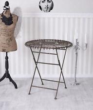 Table de jardin shabby chic en fer métal vintage pliante