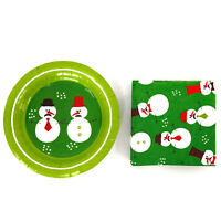 """7"""" Christmas Snowman Paper Plates and Napkins Set Dinnerware Party Serves 18"""