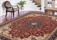 Red Leaves Vines Persien Area Rug Oriental Curves Medallion Oriental Carpet