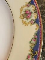 Windsor by Tirschenreuth China CHOICE Blue Edge Pink Roses Swags on Cream Rim