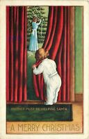 Christmas~Child in Footed PJ's Peeks Around Red Curtain~Mom Trims Tree~Emboss