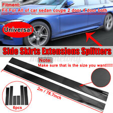 78.7'' Carbon Fiber Look Universal Car Autos Side Skirts Rocker Panel Splitters