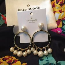 Gorgeous Kate Spade Gold Plated Faux Pearl Bauble Drop Hoop Earrings $78