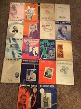Piano Sheet Music Early To Mid Century Vintage Antique Lot Of (18) works - oe
