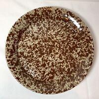 """Bennington Potters 9.5"""" Dinner Plate # 1629 Brown Agate Pottery VINTAGE Spatter"""