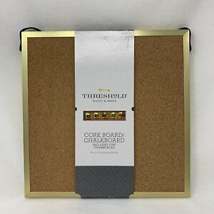 THRESHoLD - Cork Board / Chalkboard w/Gold 10 x 10 Frame (includes 5 thumbtacks)