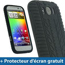Noir Pneu Étui Housse Case Silicone pour HTC Sensation XL Smartphone Coque Case