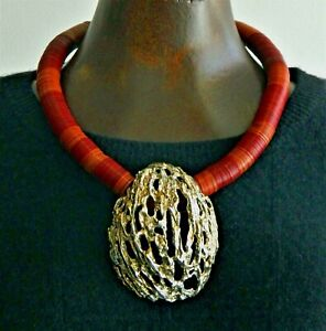 Handcrafted Coral-Inspired Heishi Bead necklace with .999 Silver Medallion