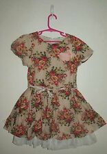 Sz 4-5 ZARA GIRLS Puff-sleeve PARTY DRESS with FLOWER BROOCH Tulle Features BNWT