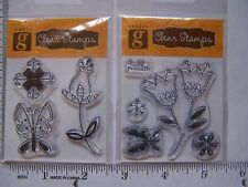 DOODLE FLOWERS  CLEAR RUBBER STAMPS SCRIBBLE Tulips 2 PACKS ALTERED ART Whimsy