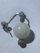 14K White Gold Drop Earring White Agate with Diamonds
