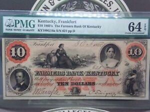 1860's $10 Farmer's Bank of Kentucky FRANKFORT PMG 64 EPQ  Obsolete #MB