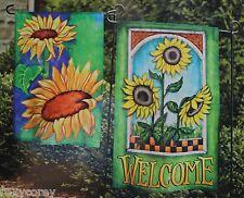 Home 2 Small Garden Flag Set Sunflowers & Welcome Garden Flag 12x18 Nip