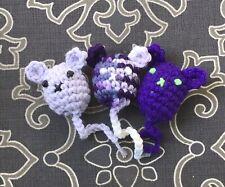 Purple Catnip Mice 3 Hand-Crocheted Organic Cat Toy Lavender Free shipping