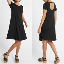 NEW Ex M&S BLACK Fit and Flare Dress Window Back Summer Dress Size 6 - 22
