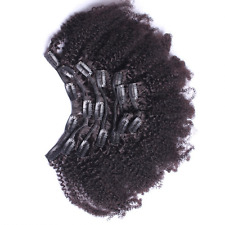 7A 4B 4C Kinky Curly Clip In Human Hair Extensions 7Pc Natural Brazilian African